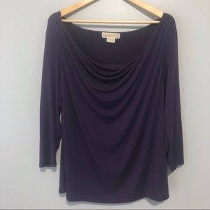 Michael Kors purple cowl neck long sleeve top 1x